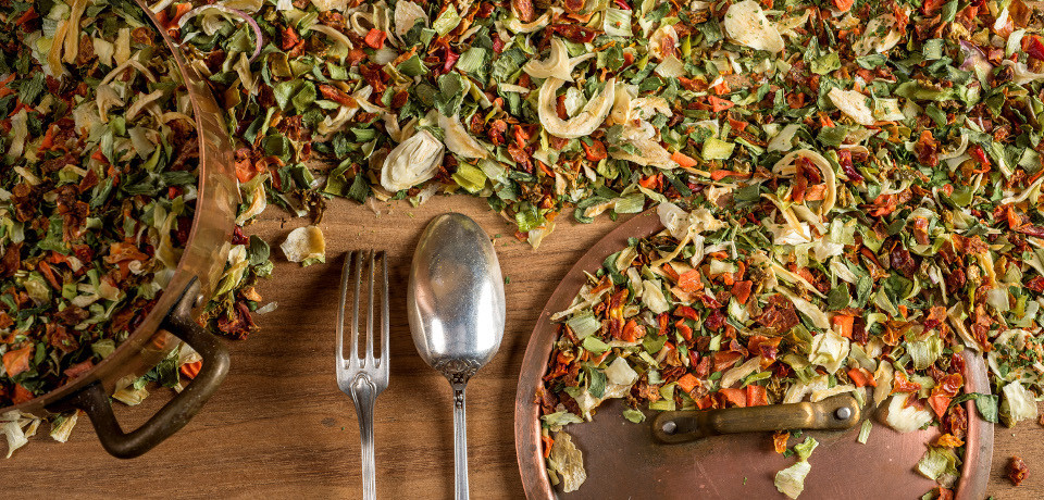 Légumes et champignons secs